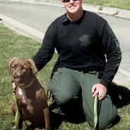 "This friendly looking pair began ""welcoming"" visitors to Deuel Vocational Institution, a California state prison in Tracy, last October. Molly is DVI's first drug sniffing dog, and correctional officer Robert Willcox is her handler."