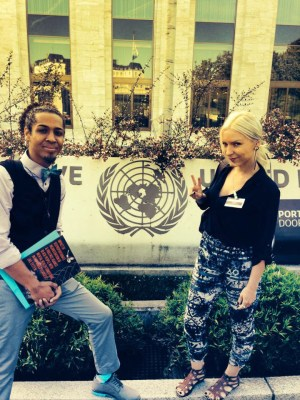 "On Aug. 12, Mark-Anthony Johnson and Lynwood social worker Kristina Ronnquist pause at the entrance of the United Nations in Geneva, where they submitted the Dignity and Power Now report, ""Impact of Disproportionate Incarceration and Abuse of Black People with Mental Health Conditions in World's Largest Jail System"" for review of U.S. compliance with the International Convention to Eliminate all forms of Racial Discrimination (CERD)."