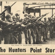 In September 1966, the Hunters Point Rebellion made headlines around the world when the youth of Hunters Point rose up to stop police murder and occupation. They held the Hill against the police until the governor called in the National Guard, and their tanks patroled Third Street. - Photo: The Hunters Point Bayview Spokesman, a local Black newspaper