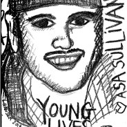 During the trial over the wrongful death by San Francisco police of Asa Sullivan, Lisa Ganser and Nomy Lamm, friends of Asa's mother, Kat Espinosa, made drawings of the proceedings. – Art: Lisa Ganser