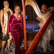 """Incantations and Rites"" was presented Dec. 6 by Daughters of Yam (at left) – devorah major and Opal Palmer Adisa – featuring their poetry and the music of Destiny Muhammad, Harpist from the Hood. – Photo: Malaika Kambon"