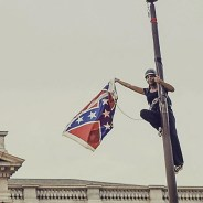 Bree Newsom removes Confederate flag from SC capitol grounds 062715, cropped