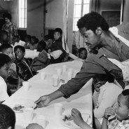 Black Panther Charles Bursey serves children their breakfast. The BPP breakfast program is the model for the free breakfast and free lunch programs in schools throughout the nation today.
