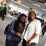 LeeAhna Smith and LaShonda Taylor eagerly await our departure from SFO.