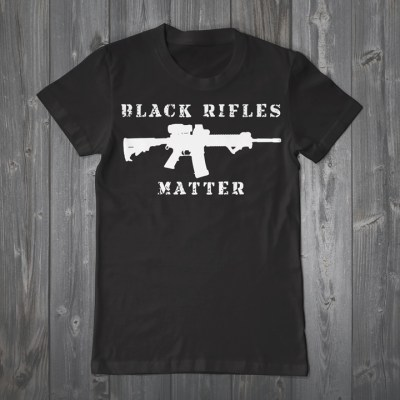 """Black Rifles Matter,"" a top-selling T-shirt at the Urban Shield Expo 2015"