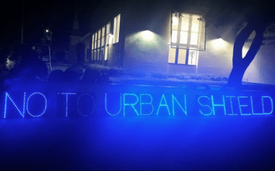 Bay Area Light Brigade's display outside Berkeley City Council on Dec. 17, 2015