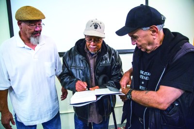 "The surviving members of the San Quentin 6 – David Johnson, Sundiata Tate and Bato Talamantez – were featured in an acclaimed event called ""Prisoners and Politics: from the San Quentin 6 to Pelican Bay"" in San Francisco on Sept. 23, 2015. – Photo: Lucas Guilkey"