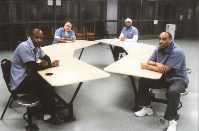 These men, made scapegoats for the Lucasville Rebellion 23 years ago are, from left, Bomani Shakur (Keith LaMar), Jason Robb, Siddique Hasan and Greg Curry, are all incarcerated at Ohio State Penitentiary in Youngstown, Ohio. Not pictured is George Skatzes, who is incarnated at the Chillicothe Correctional Institution. – Photo courtesy of Siddique Hasan and Greg Curry