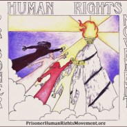 Prisoner Human Rights Movement (PHRM) logo – Art: J. Heshima Denham, J-38283, KVSP B2-117U, P.O. Box 5102, Delano CA 93216