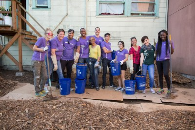 Longtime Bayview homeowner Alfreda Furgensen worked alongside Habitat for Humanity Greater San Francisco volunteers who helped revitalize her entire backyard.