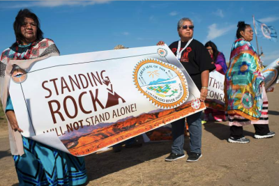 Members of the Colorado River Tribes stand in solidarity with the Standing Rock tribe. – Photo: Robyn Beck