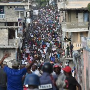 Haitians fill the streets of Port au Prince to protest election fraud – again. – Photo: Hector Retamal, AFP