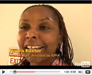 Nadra Foster in a video recorded at her court hearing Aug. 25, the injury caused by the police grinding her face into the floor not yet healed. Watch the video at www.blockreportradio.com and read many stories about this incident of police terrorism inside KPFA here at sfbayview.com.  Video: Labor Video Project