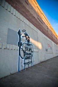 Graffiti qualifies as artwork for the Oscar Grant Memorial Arts Project. This is among many that have been submitted.  Photo: James Wacht