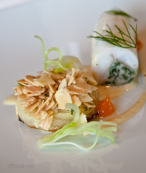 """Fennel Amandine, Royal Blenheim Apricot Puree, Brown Butter and """"Sauce Noilly Prat"""""""