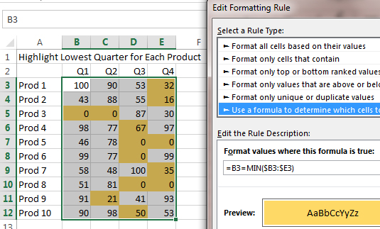 Excel Array Formulas in Conditional Formatting
