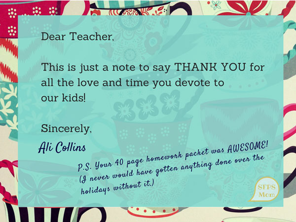 An Open Thank You Letter to TeachersSF Public School Mom - ending thank you letters