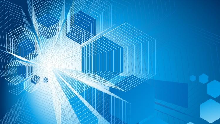 Blue computer background - SF Wallpaper