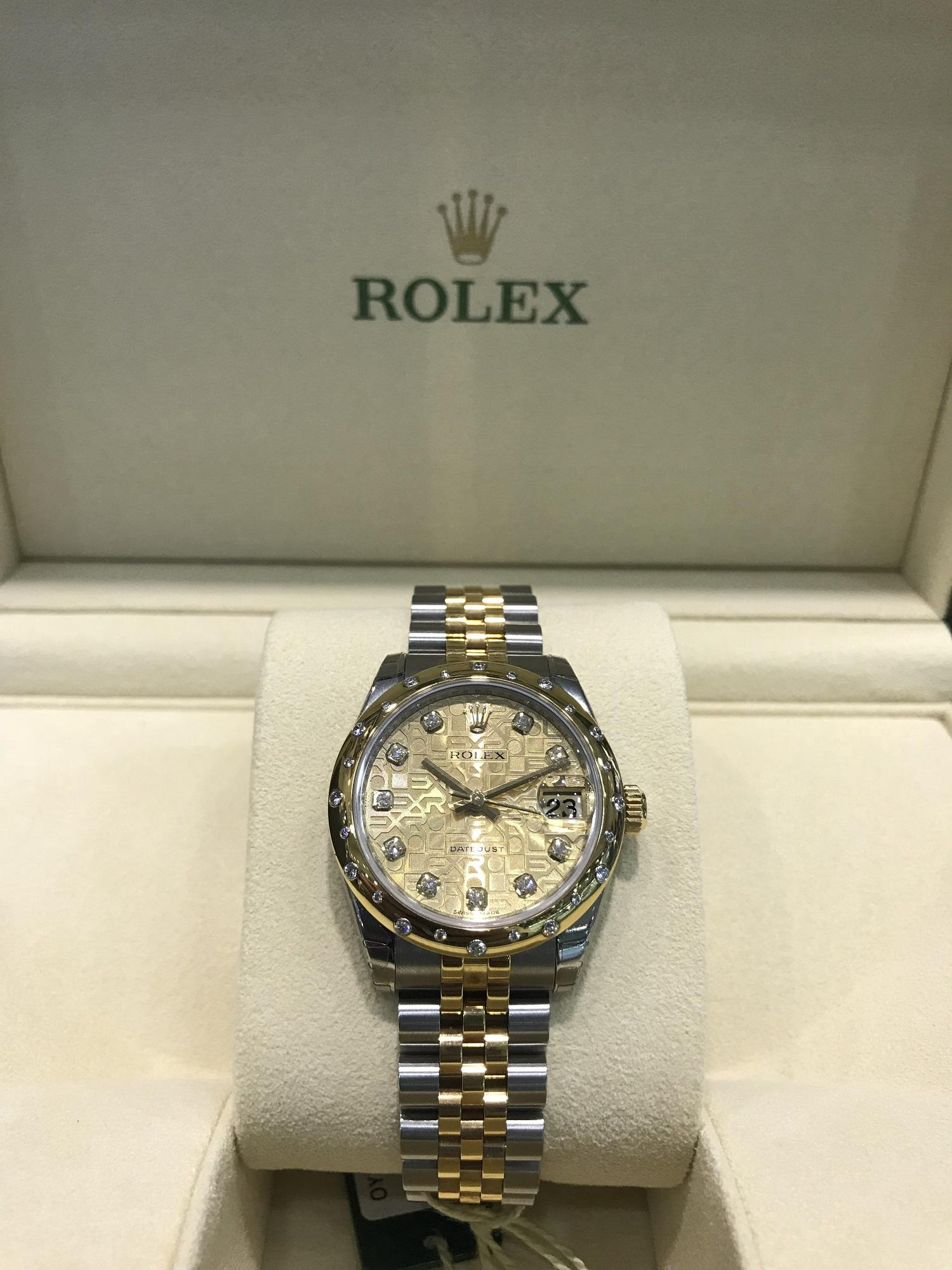 Rolexs Watches Rolex 178343 Jubilee Champagne Diamond Oyster Datejust 31mm Oystersteel And Yellow Gold Ladies Watch With Diamond Bezel And Diamond Indexes