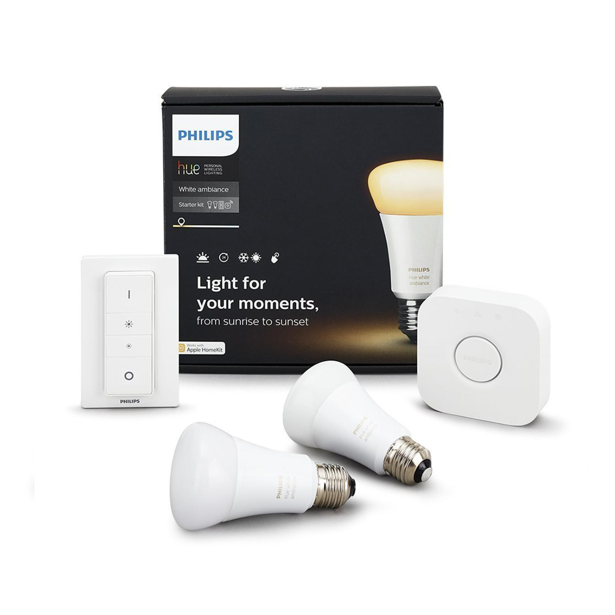 Hue G10 Philips Hue White Ambiance Starter Kit 1x Bridge 2x White Ambiance Bulbs 1x Dimmer Switch