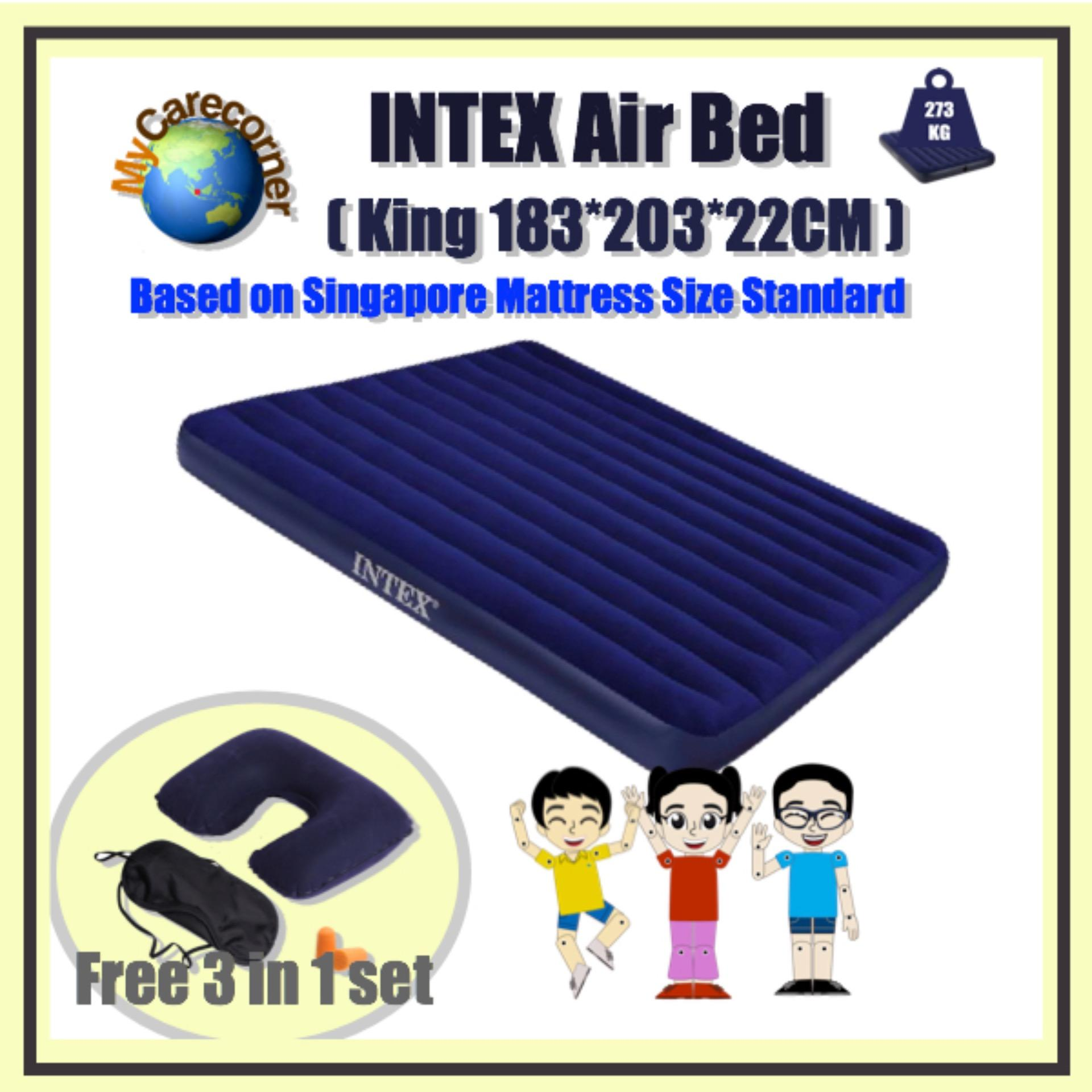 King Size Air Bed Camping Intex Classic Downy Airbed 68755 King Size Foldable Portable Inflatable Mattress Air Bed Suitable For Indoor Outdoor Activities Camping Hiking