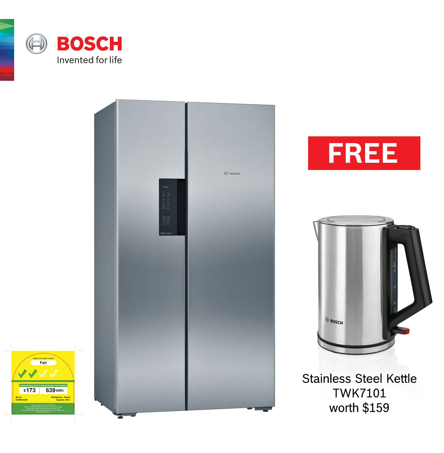 Kuche Bar Fridge Review Cny Special Bosch Side By Side Fridge Freezer With Stainless Steel Fingerprint Resistant Door Kan92vi35o Capacity 661l
