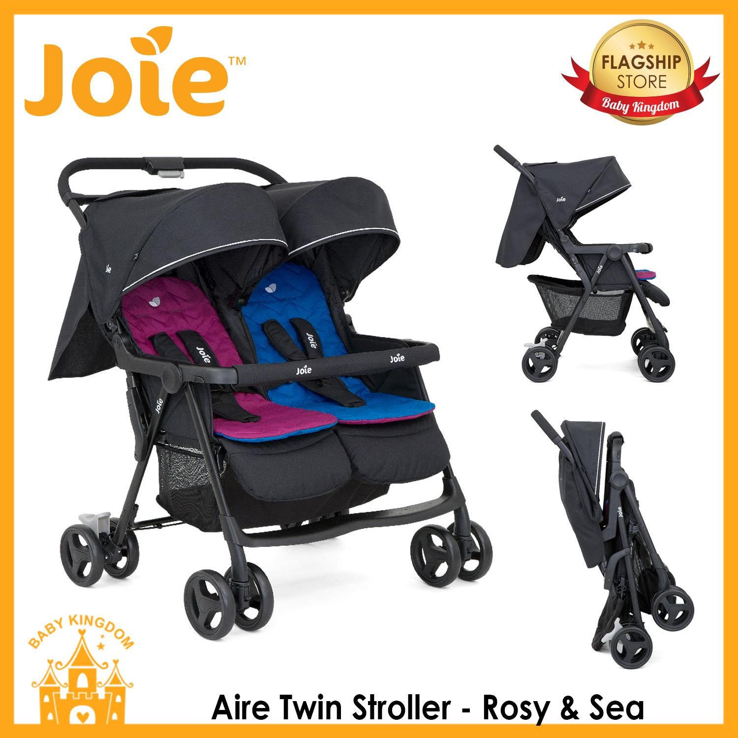 Triple Pet Stroller Joie Aire Twin Stroller Rosy Sea Dark Pewter