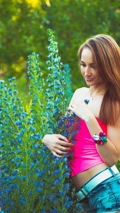 Girls Wallpaper download wallpapers for android Girls 1080x1920 outdoor garden flowers girl ...