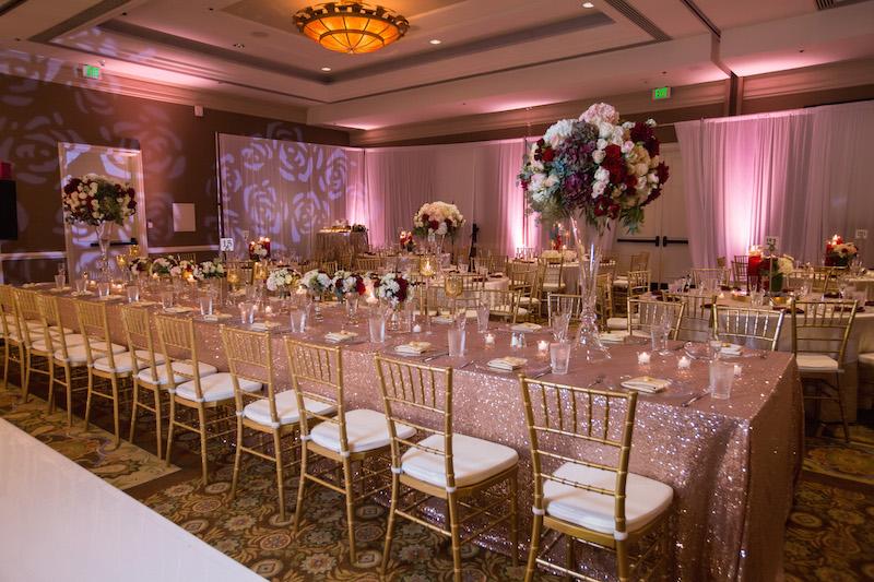 ShaadiShop - The Waterfront Beach Resort - wedding reception setup with rectangular tables