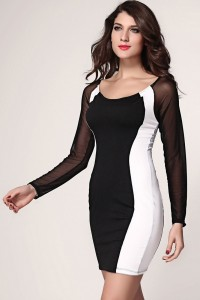 black-white-hourglass-mesh-long-sleeves-bodycon-dress