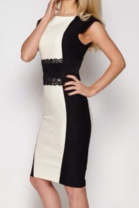 black-white-stitching-lace-belt-midi-dress
