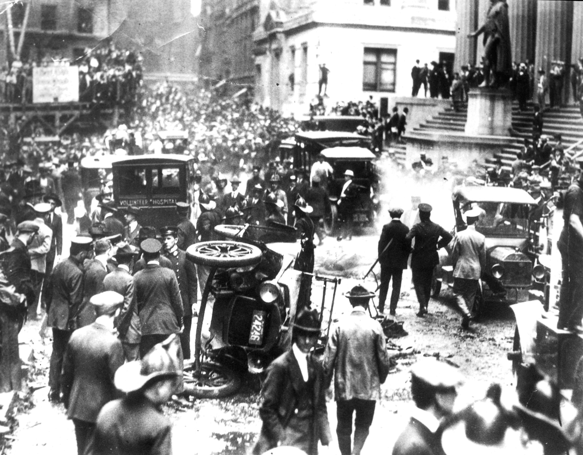 Scene of bombing of Wall Street where many were killed in New York City, 9/10/20. (Photo by Pictorial Parade/Archive Photos/Getty Images)