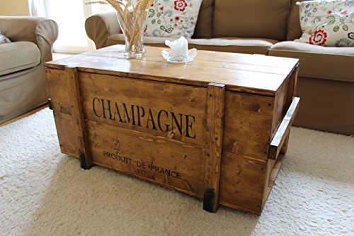 Uncle Joes Couchtisch Uncle Joe´s Vintage Style Shabby Chic Champagne Chest, Wood, Light Brown, Large, 98 X 55 X 46 Cm
