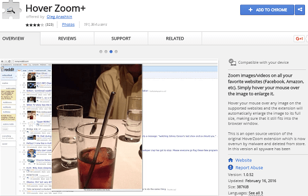 Hover zoom+ best chrome extension