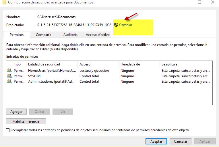 error windows 10 permisos. escribe tu nombre de usuario ...