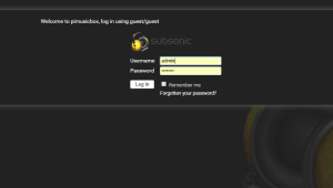 Subsonic web interface login