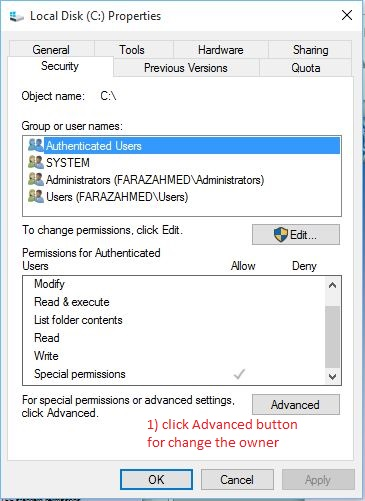 how to change windows permissions