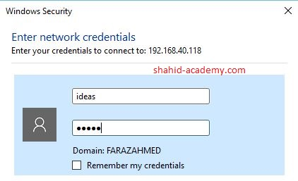 credentials for username and password