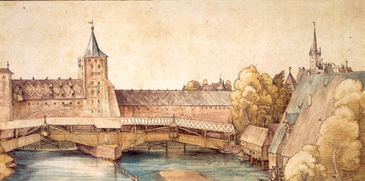 Dry dock at Hallertürlein, Nuremberg - pinturas acuarelas - pinturas en acuarela