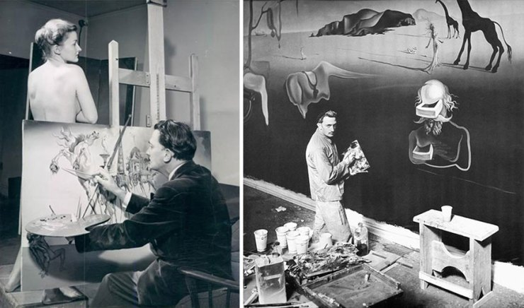 The surrealist painter at his studio in Spain