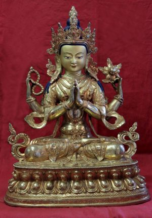 golden buddha chenrezig full gold buddha statue for sale zen meditation altar