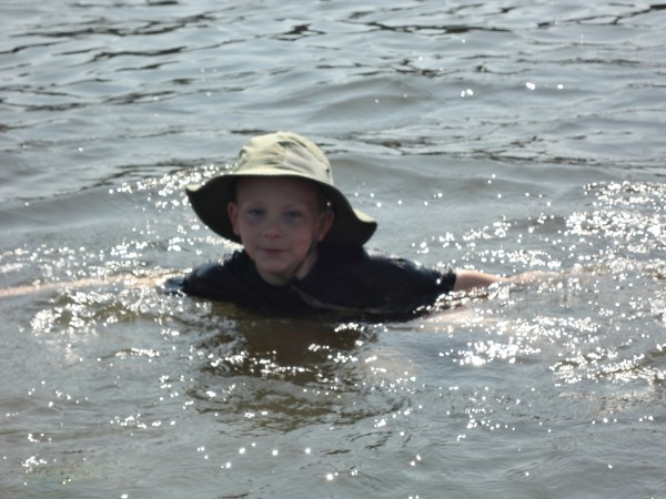 Eamon's splashing around