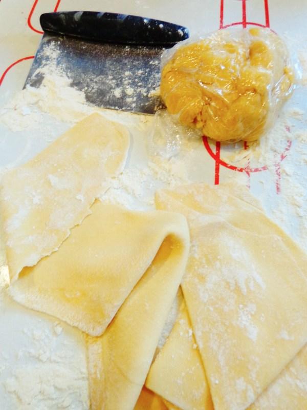dough and raviolis
