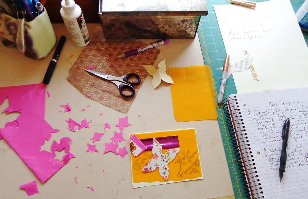 Paper crafting in progress on paper connections on Shalavee.com