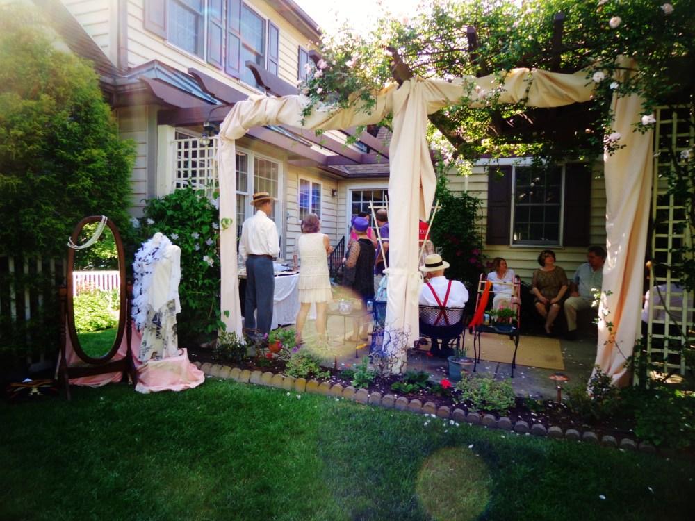 Draped rose arbor for the garden party on shalavee.com