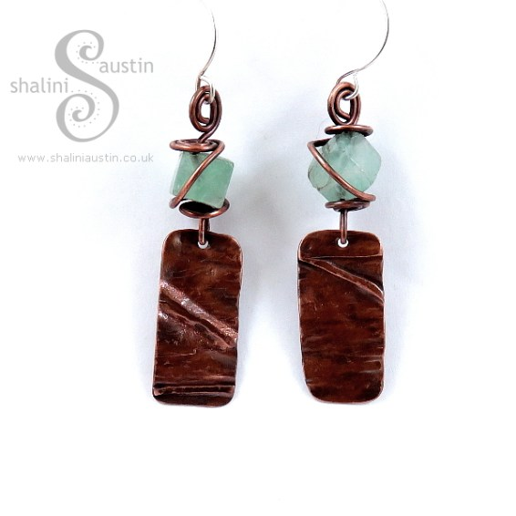 Fluorite and Copper Earrings