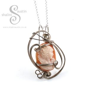 Wire Wrapped Pendant: Natural Shell Cameo & Sterling Silver Pendant