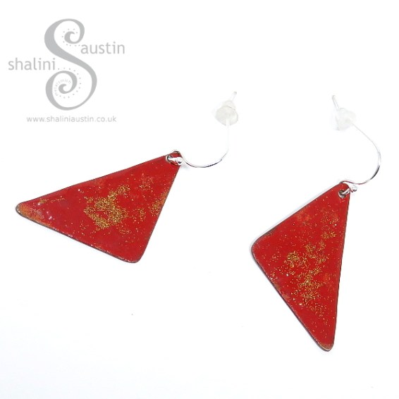 Red Enamelled Copper Earrings