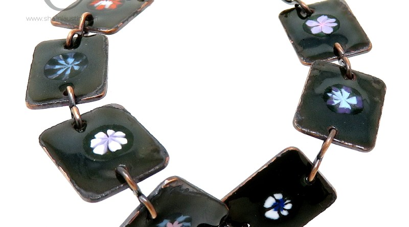 Enamelled Flowers Copper Bracelet – Dark Green