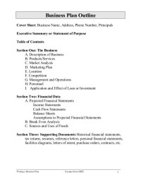 Cover Sheet for a business plan | shaneedamarley